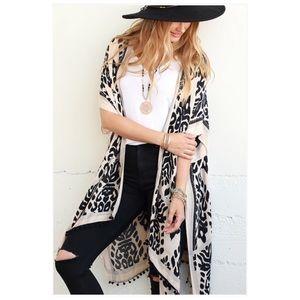 Boho Leopard Printed Kimono NWT